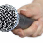 Interview with microphone
